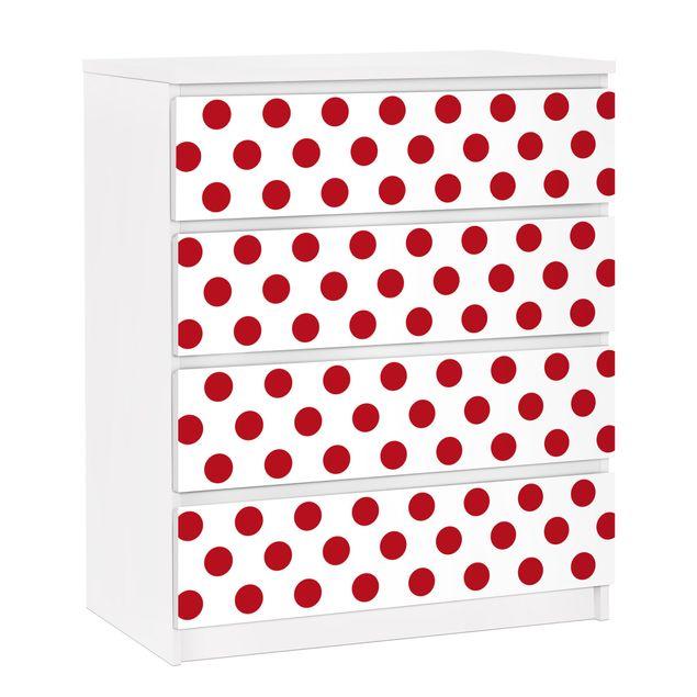 Möbelfolie für IKEA Malm Kommode - selbstklebende Folie No.DS92 Punktdesign Girly Weiß