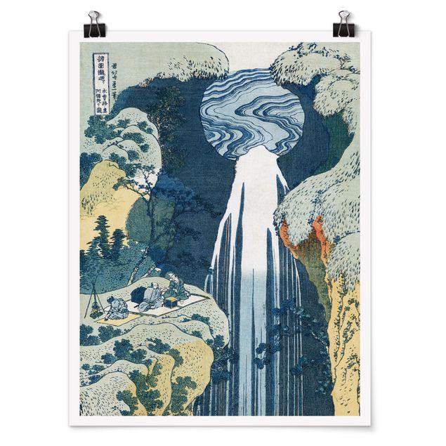 Poster - Katsushika Hokusai - Der Wasserfall von Amida - Hochformat 3:4