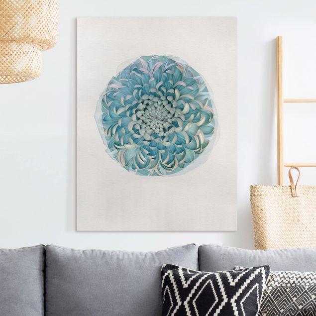 Leinwandbild - Wasserfarben - Blaue Chrysantheme - Hochformat 4:3