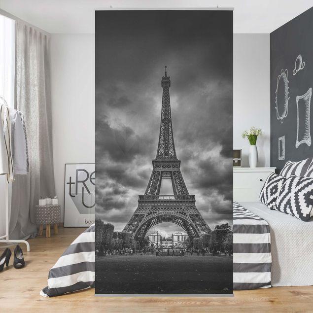 Raumteiler - Eiffelturm vor Wolken schwarz-weiß - 250x120cm