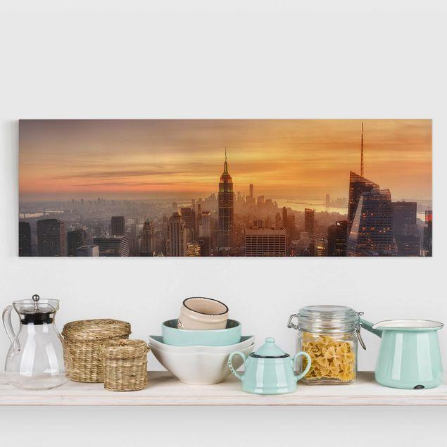 Leinwandbild - Manhattan Skyline Abendstimmung - Panorama 1:3