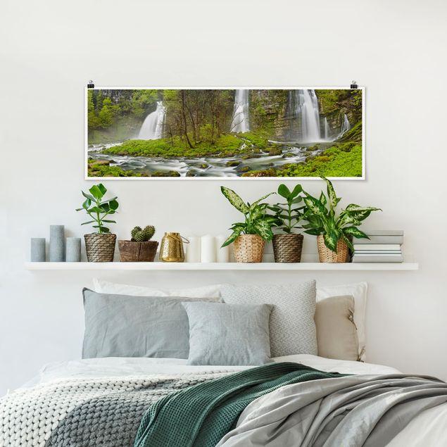 Poster - Wasserfälle Cascade de Flumen - Panorama Querformat