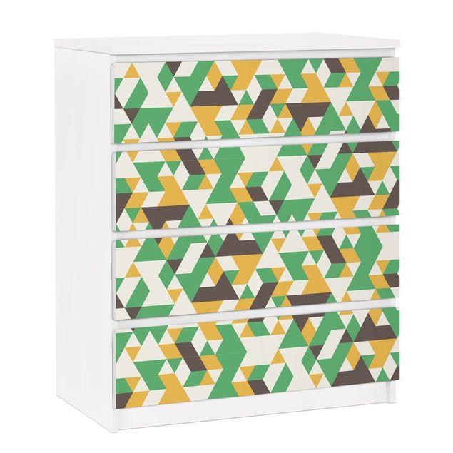 Möbelfolie für IKEA Malm Kommode - selbstklebende Folie No.RY34 Green Triangles
