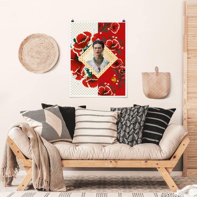 Poster - Frida Kahlo - Mohnblüten - Hochformat 3:4