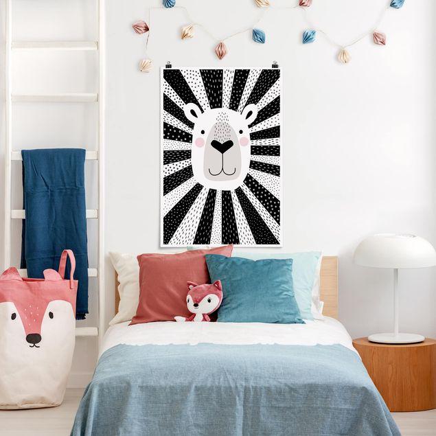 Poster - Tierpark mit Mustern - Löwe - Hochformat 3:2