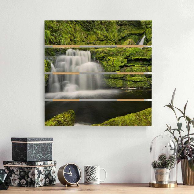 Holzbild - Lower McLean Falls in Neuseeland - Quadrat 1:1