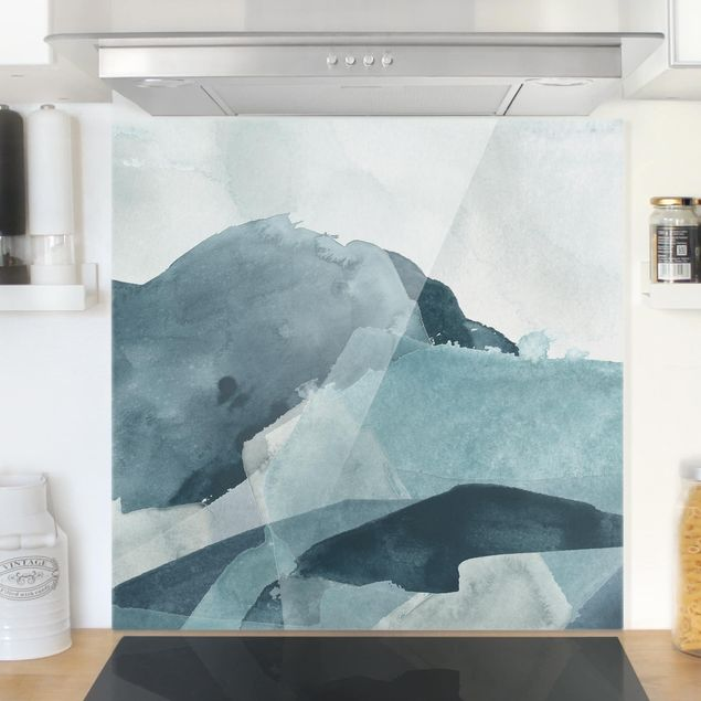 Glas Spritzschutz - Wogen in Blau II - Quadrat - 1:1