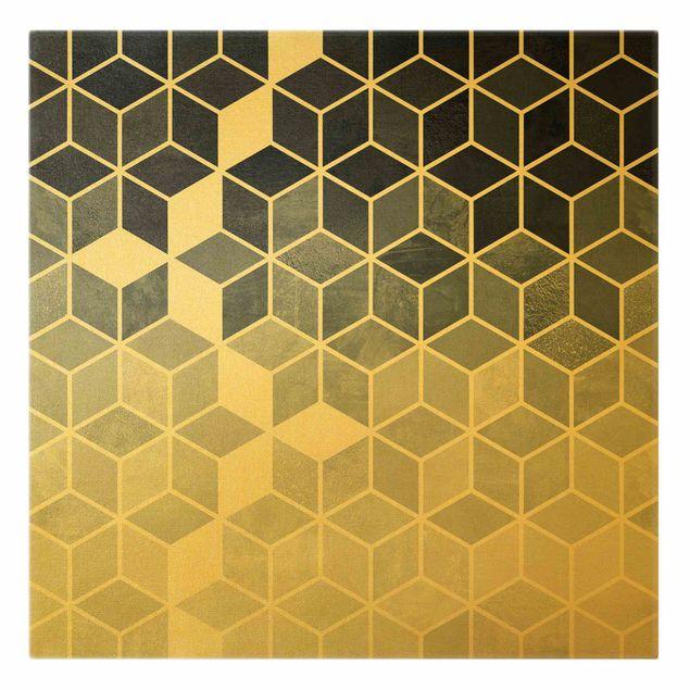 Leinwandbild Gold - Goldene Geometrie - Blau Weiß - Quadrat 1:1