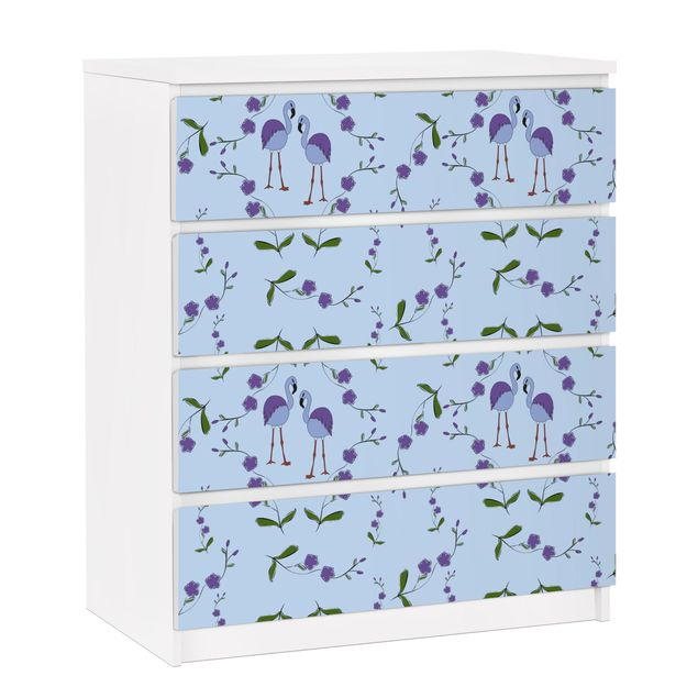 Möbelfolie für IKEA Malm Kommode - selbstklebende Folie Mille Fleurs Musterdesign Blau