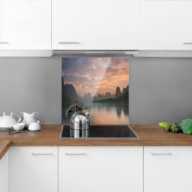 Glas Spritzschutz - Sonnenaufgang über chinesischem Fluss - Quadrat - 1:1