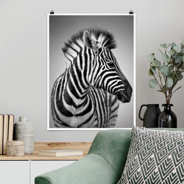 Poster - Zebra Baby Portrait II - Hochformat 3:4