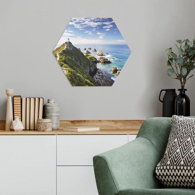 Hexagon Bild Forex - Nugget Point Leuchtturm und Meer Neuseeland