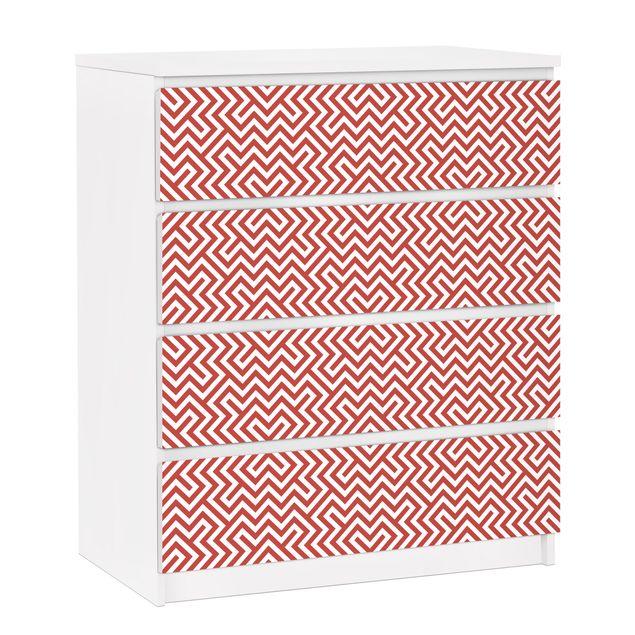 Möbelfolie für IKEA Malm Kommode - selbstklebende Folie Rotes Geometrisches Streifenmuster.
