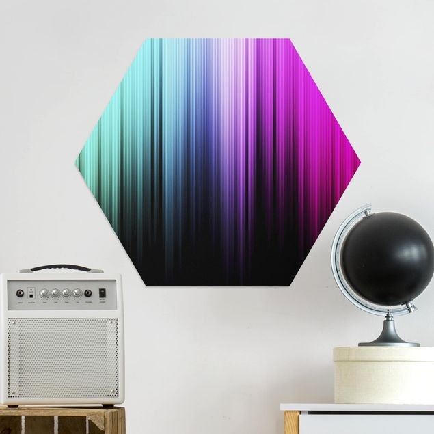 Hexagon Bild Alu-Dibond - Rainbow Display