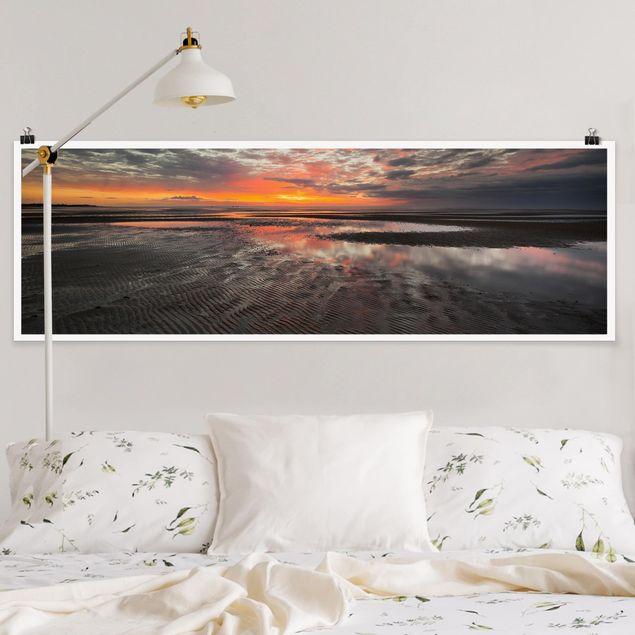 Poster - Sonnenaufgang im Watt - Panorama Querformat