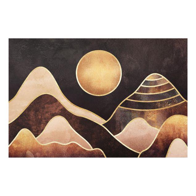 Spritzschutz Glas - Goldene Sonne abstrakte Berge - Querformat - 3:2