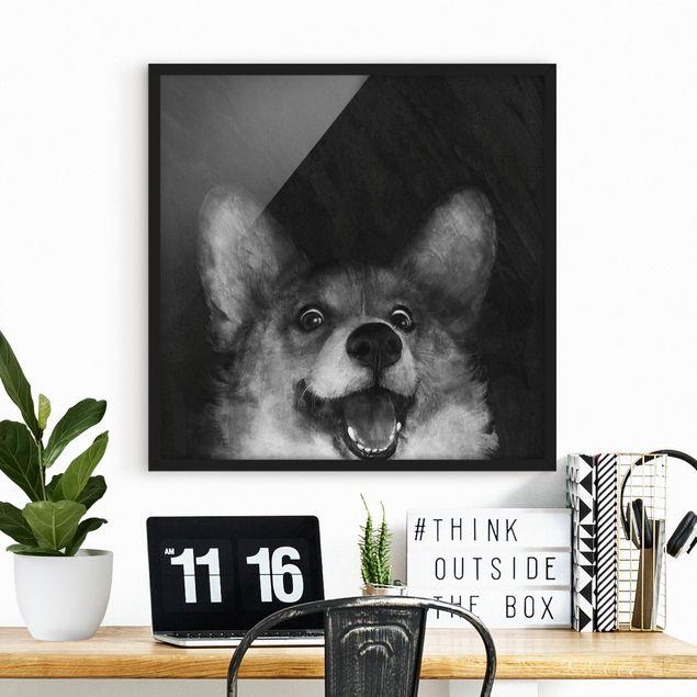Bild mit Rahmen - Illustration Hund Corgi Malerei Schwarz Weiß - Quadrat 1:1