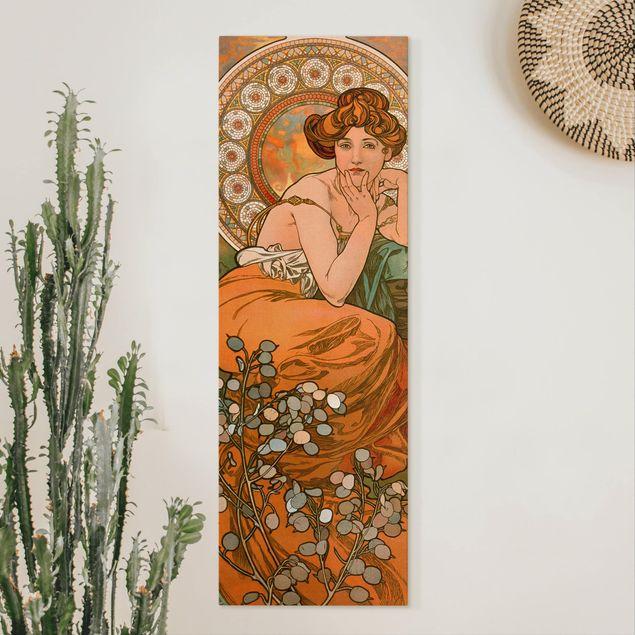 Leinwandbild - Alfons Mucha - Edelsteine - Topas - Panorama Hochformat 3:1
