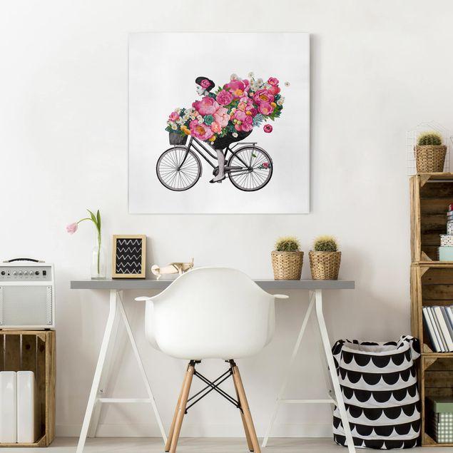 Leinwandbild - Illustration Frau auf Fahrrad Collage bunte Blumen - Quadrat 1:1