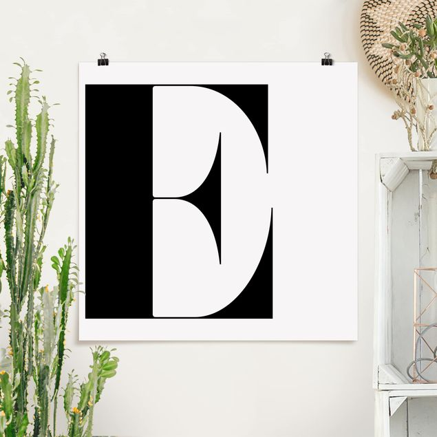 Poster - Antiqua Letter E - Quadrat 1:1