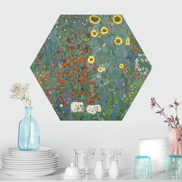 Hexagon Bild Forex - Gustav Klimt - Garten Sonnenblumen