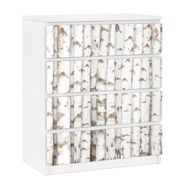 Möbelfolie für IKEA Malm Kommode - selbstklebende Folie No.YK15 Birkenwand