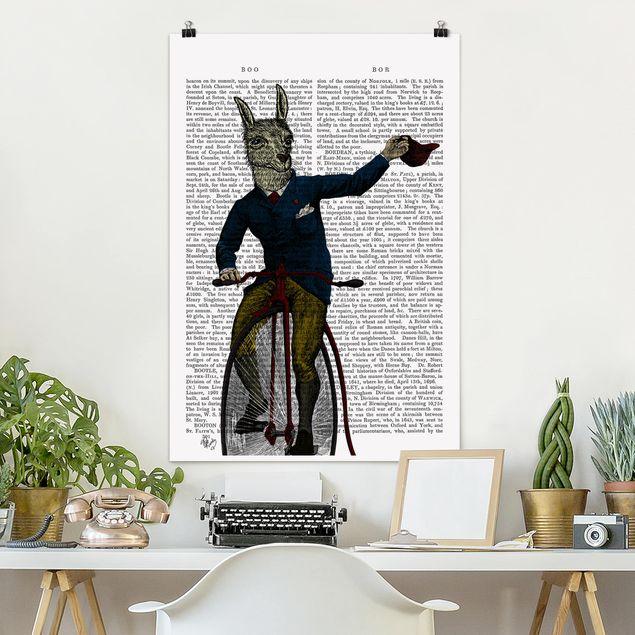 Poster - Tierlektüre - Lama auf Fahrrad - Hochformat 3:2