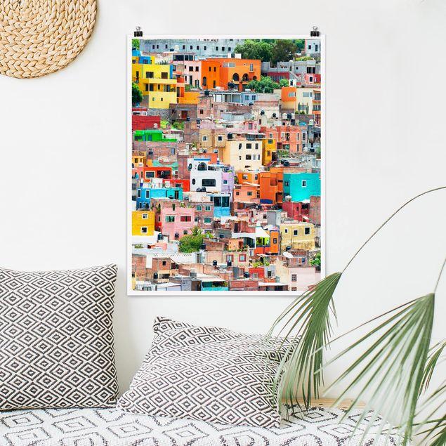 Poster - Farbige Häuserfront Guanajuato - Hochformat 3:4