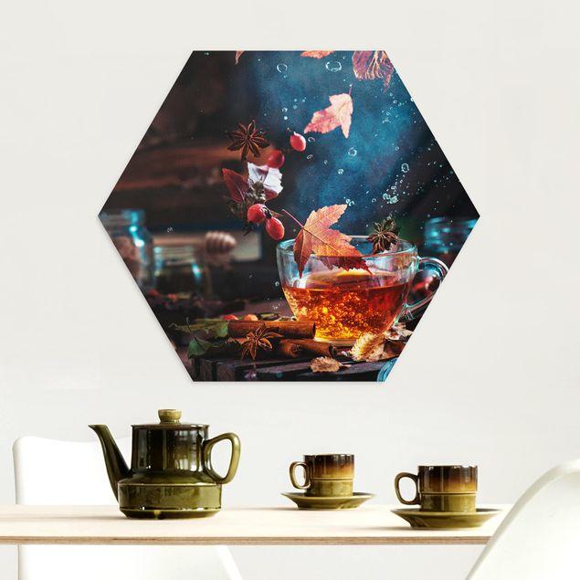 Hexagon Bild Alu-Dibond - Teetasse im Herbst