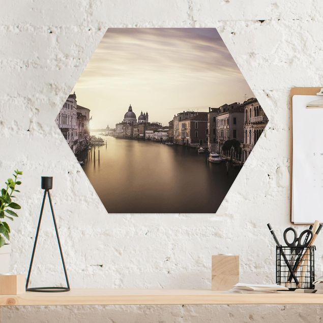 Hexagon Bild Alu-Dibond - Abendstimmung in Venedig