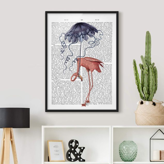 Bild mit Rahmen - Tierlektüre - Flamingo mit Regenschirm - Hochformat 4:3