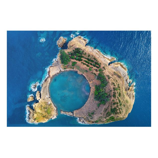 Forex Fine Art Print - Luftbild - Die Insel Vila Franca do Campo - Querformat 2:3