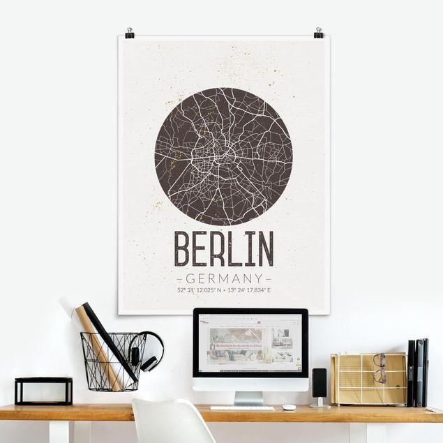 Poster - Stadtplan Berlin - Retro - Hochformat 3:4