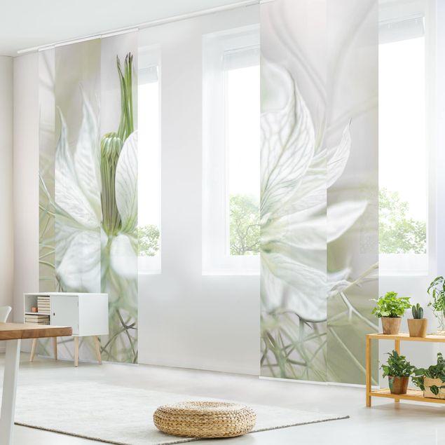 Schiebegardinen Set - Weiße Nigella - Flächenvorhänge