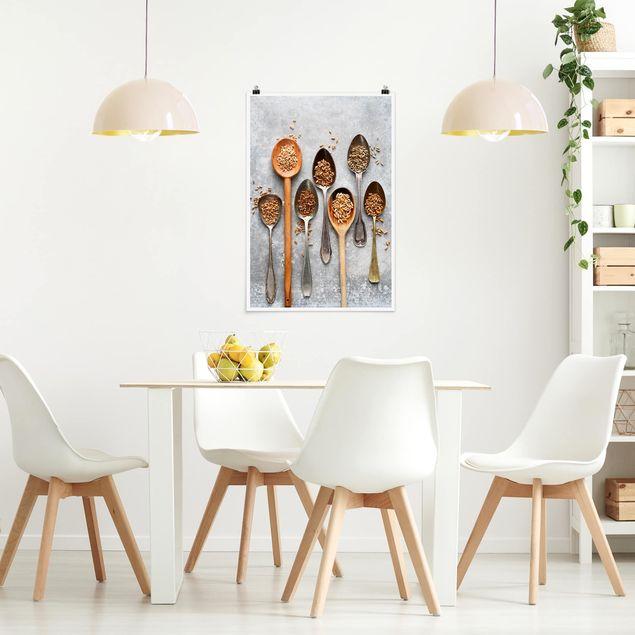 Poster - Getreidekörner Löffel - Hochformat 3:2