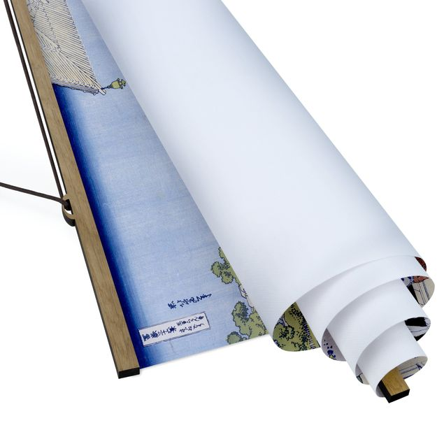 Stoffbild mit Posterleisten - Katsushika Hokusai - Die Sazai Halle - Querformat 3:2
