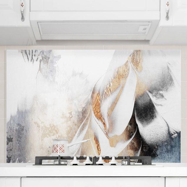 Spritzschutz Glas - Goldene abstrakte Wintermalerei - Querformat 2:3