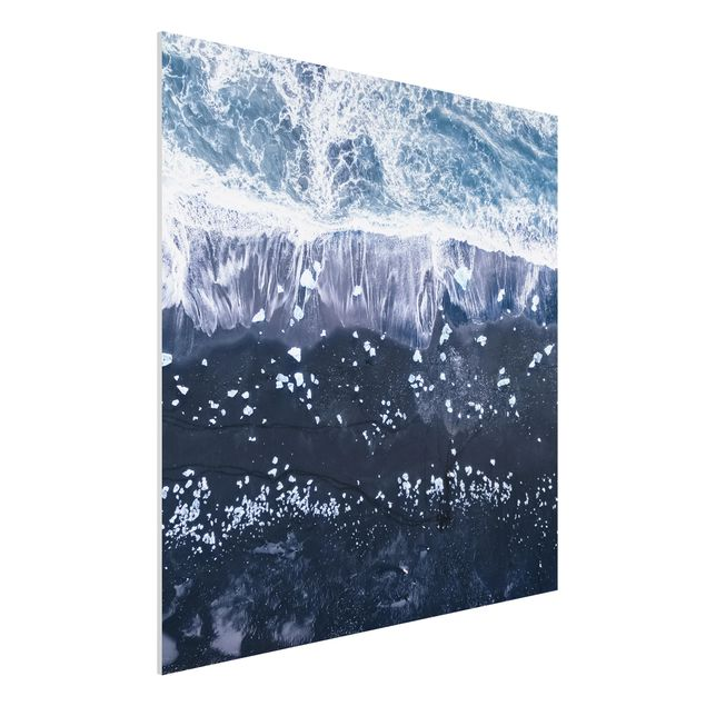 Forex Fine Art Print - Luftbild - Jökulsárlón in Island - Quadrat 1:1