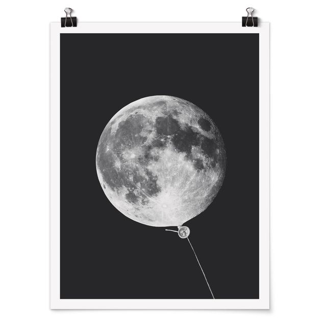 Poster - Jonas Loose - Luftballon mit Mond - Hochformat 3:4