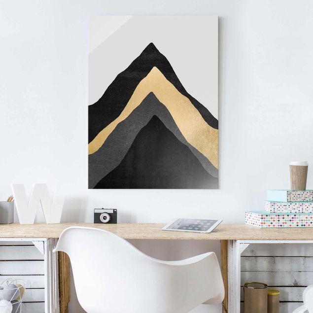 Glasbild - Goldener Berg Schwarz Weiß - Hochformat 4:3
