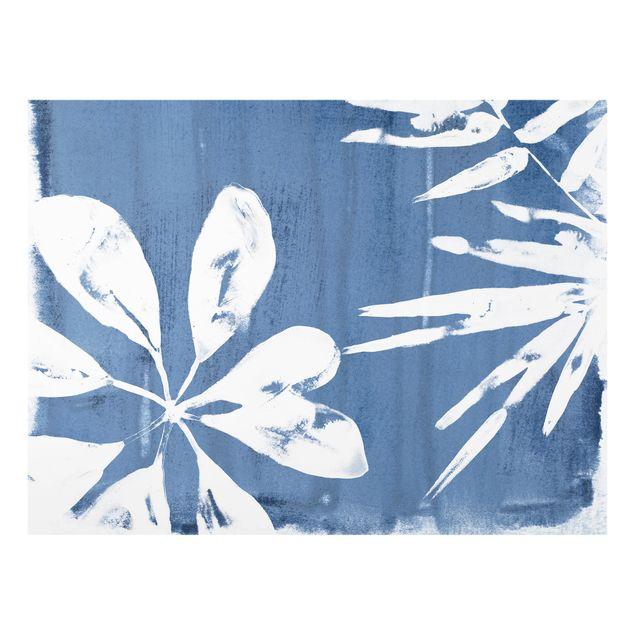 Glas Spritzschutz - Tropische Blätter Indigo I - Querformat - 4:3