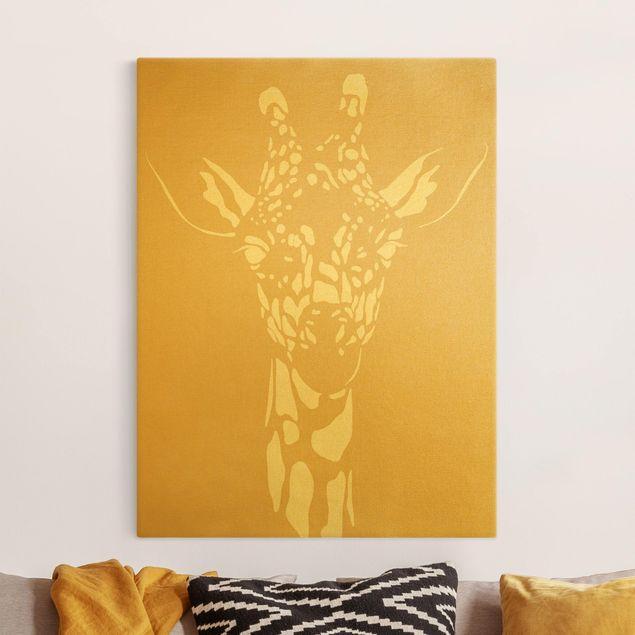 Leinwandbild Gold - Safari Tiere - Portrait Giraffe Beige - Hochformat 3:4