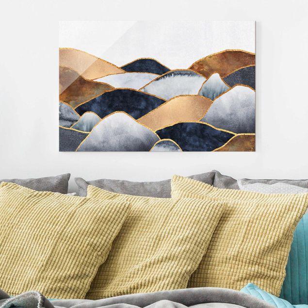Glasbild - Goldene Berge Aquarell - Querformat 2:3