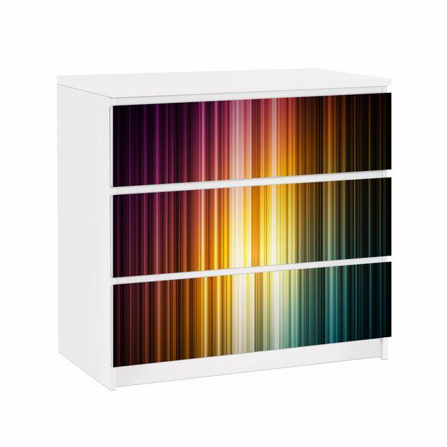 Möbelfolie für IKEA Malm Kommode - Klebefolie Rainbow Light