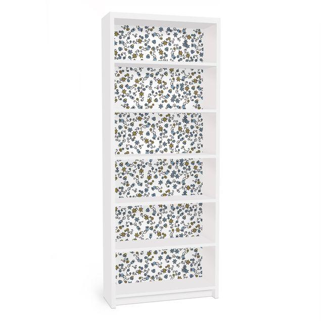 Möbelfolie für IKEA Billy Regal - Klebefolie Mille fleurs Blumenmuster
