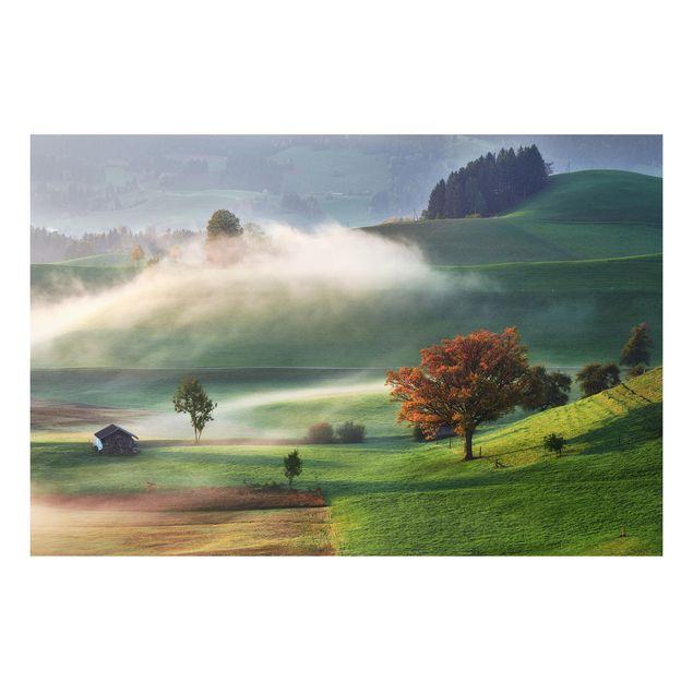 Forex Fine Art Print - Nebliger Herbsttag Schweiz - Querformat 2:3