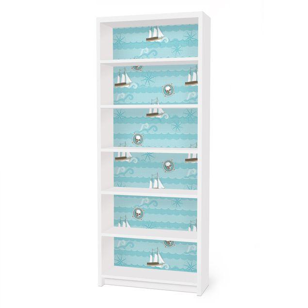 Möbelfolie für IKEA Billy Regal - Klebefolie Marine Ornament