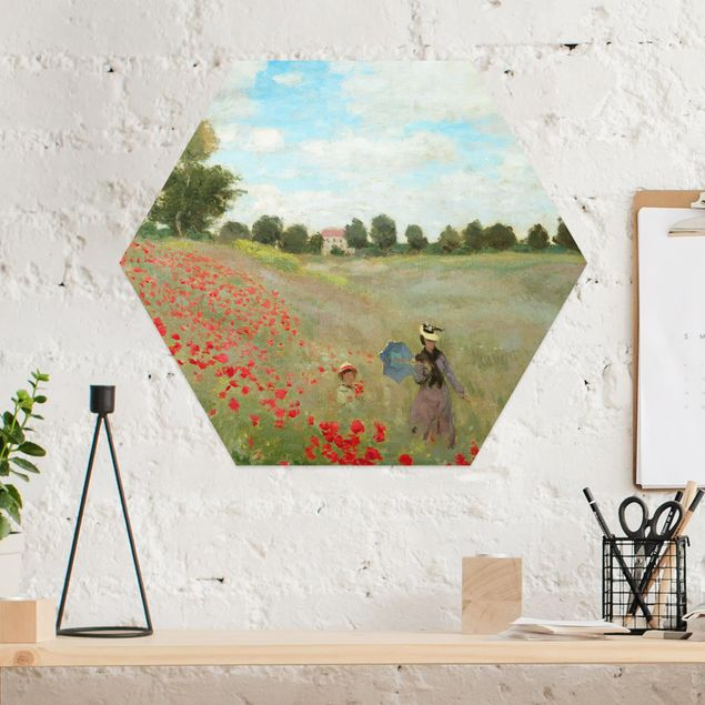 Hexagon Bild Alu-Dibond - Claude Monet - Mohnfeld bei Argenteuil