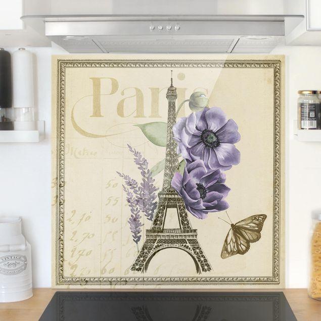 Glas Spritzschutz - Paris Collage Eiffelturm - Quadrat - 1:1
