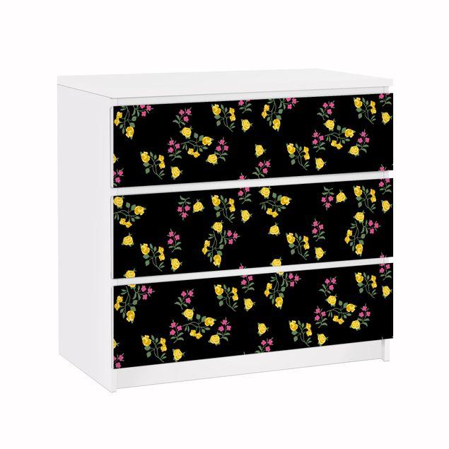 Möbelfolie für IKEA Malm Kommode - Klebefolie Mille fleurs Muster